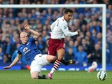 Steven Naismith of Everton in action with Kieran Richardson of Aston Villa during the Barclays Premier League match between Everton and Aston Villa at Goodison Park on October 18, 2014