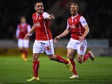 Paul Taylor of Rotherham United celebrates his first half goal during the Sky bet Championship match