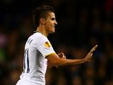 Erik Lamela of Spurs celebrates scoring his team's second