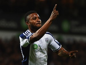 Stephane Sessegnon of West Bromwich Albion celebrates as he scores their first goal during the Barclays Premier League match between West Bromwich Albion and Manchester United at The Hawthorns on October 20, 2014