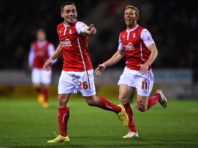 Paul Taylor of Rotherham United celebrates his first half goal during the Sky bet Championship match between Rotherham United and Fulham at The New York Stadium on October 21, 2014