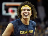 Anderson Varejao #17 of the Cleveland Cavaliers warms up before a game against the New York Knicks at Quicken Loans Arena on October 30, 2014