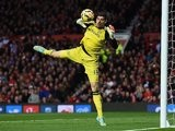 Chelsea keeper Thibaut Courtois makes a save during the game with Manchester United on October 26, 2014