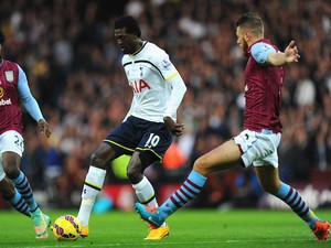 Emmanuel Adebayor (c) of Tottenham Hotspur in action during the Barclays Premier League match against Aston Villa on November 2, 2014