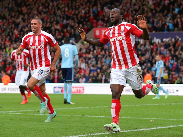 Victor Moses of Stoke City celebrates scoring the opening goal during the Barclays Premier League match against West Ham United on November 1, 2014