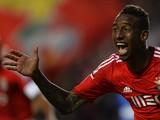 Benfica's Brazilian midfielder Anderson Talisca celebrates after scoring a goal during the UEFA Champions League group C football match SL Benfica vs AS Monaco at Luz stadium in Lisbon on November 4, 2014