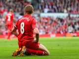 Steven Gerrard of Liverpool on his knees during the Barclays Premier League match between Liverpool and Chelsea at Anfield on April 27, 2014