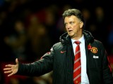 Manchester United Manager Louis van Gaal gestures during the Barclays Premier League match between Manchester United and Crystal Palace at Old Trafford on November 8, 2014