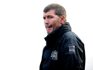 Rob Baxter, Head Coach of Exeter Chiefs looks on ahead of the LV= Cup match between Exeter Chiefs and Gloucester at Sandy Park on November 1, 2014