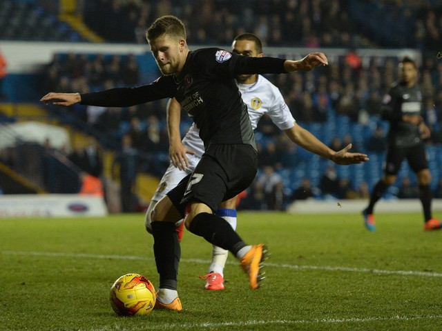 Johann Berg Guomundsson of Charlton Athletic scores his team's first goal during the Sky Bet Championship match between Leeds United and Charlton Athletic at Elland Road on November 4, 2014