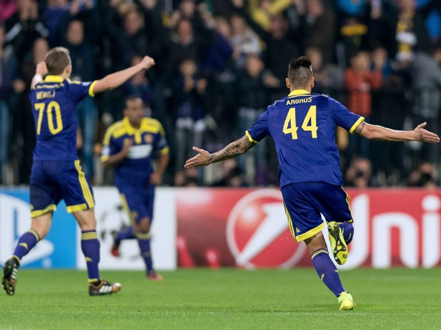 NK Maribor's Arghus reacts after scoring a goal during the UEFA Champions League Group G football match between NK Maribor and Chelsea in Maribor, Slovenia on November 5, 2014