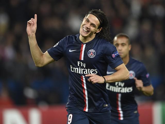 Paris Saint-Germain's Uruguayan forward Edinson Cavani celebrates after scoring a goal during the UEFA Champions League group F football between Paris Saint-Germain and Apoel Nicosia on November 5, 2014