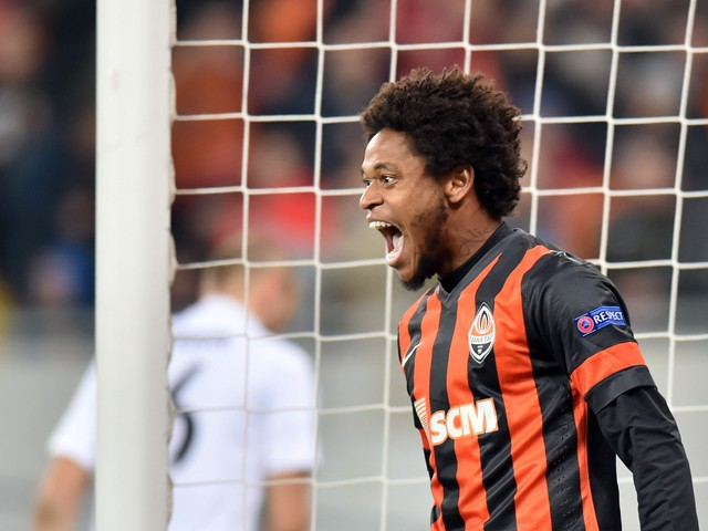 FC Shakhtar Donetsk's Luiz Adriano celebrates after scoring during the UEFA Champions League football match between FC Shakhtar Donetsk and FC BATE Borisov in Lviv on November 5, 2014