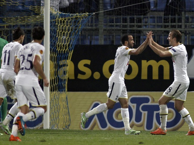 Tottenham Hotspur's Andros Townsend celebrates his goal with teammate Harry Kane during the UEFA Europa League group C football match between Asteras Tripolis and Tottenham Hotspur, in Tripoli south west in Greece, on November 6, 2014