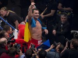 Ukrainian World heavyweight boxing champion Wladimir Klitschko celebrates victory over Australia's Alex Leapai after the WBA, IBF, WBO and IBO title bout in Oberhausen, north-western Germany, on April 26, 2014