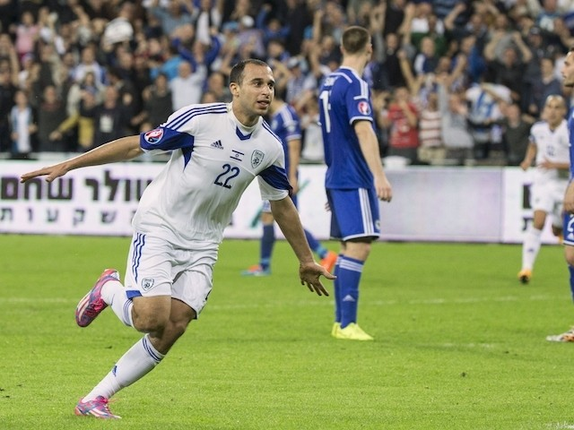 Israel's forward Omer Damari celebrates after scoring against Bosnia-Herzegovina during their Euro 2016 Group B qualifying match at the Samy Ofer Stadium on November 16, 2014
