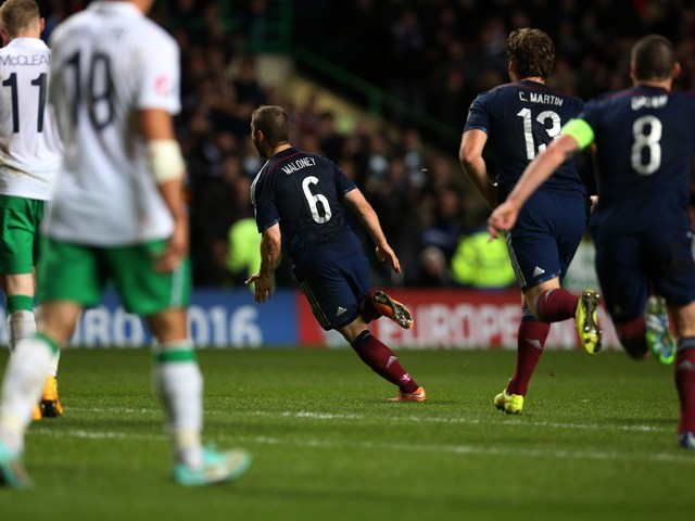 Scotland's midfielder Shaun Maloney celebrates after scoring the opening goal of the Euro 2016 Qualifier, Group D football match between Scotland and Republic of Ireland at Celtic Park in Glasgow, Scotland on November 14, 2014