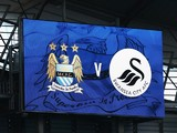 A general view of the scoreboard prior to the Barclays Premier League match between Manchester City and Swansea City at Etihad Stadium on November 22, 2014