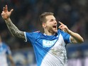Hoffenheim's midfielder Eugen Polanski celebrates scoring the 3-2 during the German first division Bundesliga football match 1899 Hoffenheim vs Hannover 96 in Sinsheim, southwestern Germany, on November 29, 2014