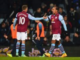 Gabriel Agbonlahor of Aston Villa celebrates with Andreas Weimann as he scores their first goal during the Barclays Premier League match between Aston Villa and Southampton at Villa Park on November 24, 2014