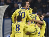 Chelsea's players celebrates scoring during the UEFA Champions League second leg Group G football match FC Schalke 04 vs Chelsea FC in Gelsenkirchen, western Germany, on November 25, 2014