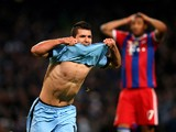 Sergio Aguero of Manchester City celebrates after scoring his team's third and matchwinning goal during the UEFA Champions League Group E match between Manchester City and FC Bayern Muenchen at the Etihad Stadium on November 25, 2014