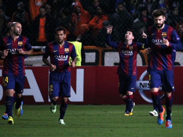 Barcelona's Argentinian forward Lionel Messi celebrates after scoring a goal during their UEFA Champions League football match against Apeol at the Neo GSP Stadium in the Cypriot capital, Nicosia, on November 25, 2014
