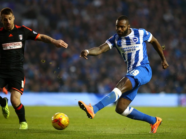 Darren Bent of Brighton scores the first goal of the game during the Sky Bet Championship match between Brighton & Hove Albion and Fulham at The Amex Stadium on November 29, 2014