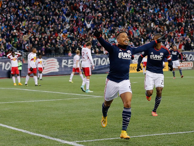 Charlie Davies #9 of the New England Revolution celebrates his goal in the first half against New York Red Bulls during Leg 2 of the MLS Eastern Conference Final at Gillette Stadium on November 29, 2014