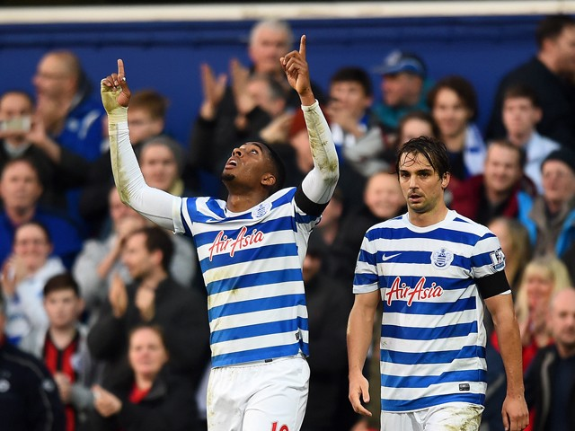 Leroy Fer of QPR celebrates after scoring his team's second goal during the Barclays Premier League match between Queens Park Rangers and Leicester City at Loftus Road on November 29, 2014
