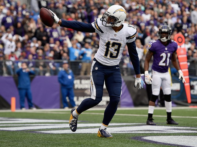 Wide receiver Keenan Allen #13 of the San Diego Chargers celebrates after catching a first quarter touchdown against the Baltimore Ravens at M&T Bank Stadium on November 30, 2014