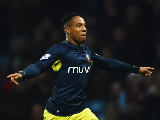 Nathaniel Clyne of Southampton celebrates as he scores their first and equalising goal during the Barclays Premier League match between Aston Villa and Southampton at Villa Park on November 24, 2014