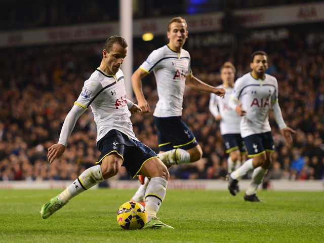 Roberto Soldado of Spurs scores their second goal during the Barclays Premier League match between Tottenham Hotspur and Everton at White Hart Lane on November 30, 2014