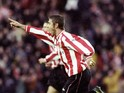 Kevin Phillips of Sunderland celebrates a goal against Chelsea during the FA Carling Premiership match at the Stadium of Light in Sunderland on December 4, 1999