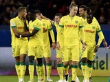 Nantes' players celebrate after scoring a goal during the French L1 football match between Paris Saint-Germain (PSG) and Nantes at the Parc des Princes stadium in Paris on December 6, 2014