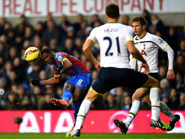 Zaha of Crystal Palace shoots at goal during the Barclays Premier League match between Tottenham Hotspur and Crystal Palace at White Hart Lane on December 6, 2014