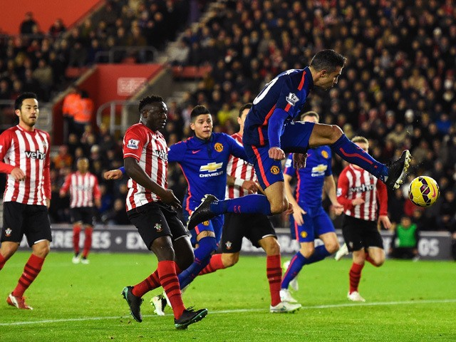 Robin van Persie of Manchester United scores his second goal during the Barclays Premier League match between Southampton and Manchester United at St Mary's Stadium on December 8, 2014