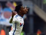 Marseille's Belgian midfielder Michy Batshuayi celebrates after scoring a goal during the French L1 football match Marseille (OM) vs Lille (LOSC) on December 21, 2014