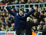 Sunderland manager Gus Poyet celebrates the winning goal during the Barclays Premier League match between Newcastle United and Sunderland at St James' Park on December 21, 2014