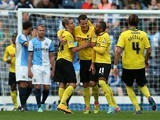 Daniel Tozser of Watford is congratulated by his team-mates after scoring his side's second goal during the Sky Bet Championship match between Blackburn Rovers and Watford at Ewood Park on September 27, 2014