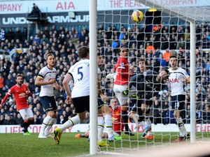 The ball crosses the Tottenham goal line, but is ruled out for offside during the Barclays Premier League match between Tottenham Hotspur and Manchester United at White Hart Lane on December 28, 2014