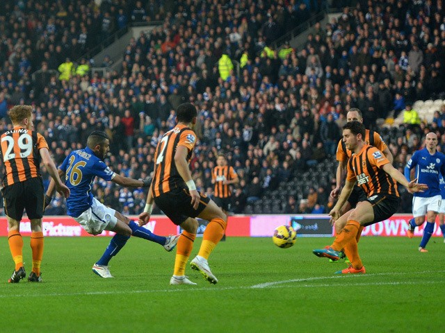 Riyad Mahrez of Leicester City scores the opening goal during the Barclays Premier League match between Hull City and Leicester City at KC Stadium on December 28, 2014