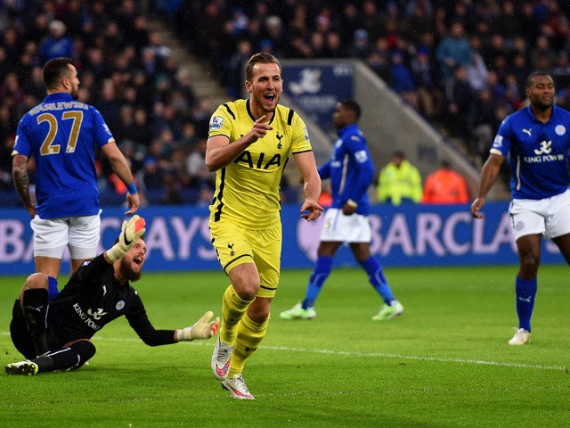 Harry Kane of Spurs celebrates after scoring the opening goal during the Barclays Premier League match between Leicester City and Tottenham Hotspur at The King Power Stadium on December 26, 2014