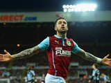 Danny Ings of Burnley celebrates scoring their second goal during the Barclays Premier League match between Newcastle United and Burnley at St James' Park on January 1, 2015