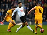 Leon Best of Derby passes under pressure from Richard Brodie of Southport during the FA Cup Third Round match on January 3, 2015