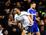 Nacer Chadli of Spurs celebrates after scoring his team's fifth goal during the Barclays Premier League match against Chelsea on January 1, 2015