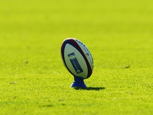 General view of a rugby ball on a tee during the Zurich Premiership match between Leeds Tykes and Bath on September 14, 2003