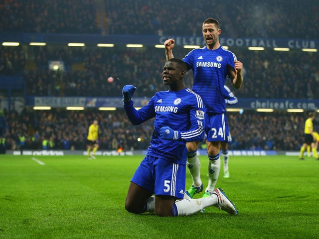 Kurt Zouma of Chelsea celebrates with Gary Cahill as he scores their third goal during the FA Cup Third Round match between Chelsea and Watford at Stamford Bridge on January 4, 2015