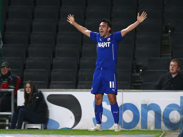 Gary Roberts of Chesterfield celebrates his goal during the FA Cup Second Round Replay match between MK Dons and Chesterfield at Stadium mk on January 2, 2015