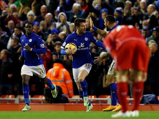 David Nugent of Leicester City celebrates after scoring his team's first goal during the Barclays Premier League match between Liverpool and Leicester City at Anfield on January 1, 2015